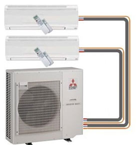 we heating photo made up and located four components split ductless air use mitsubishi installhigh unit outside mini cooling conditioning the are building indoor system of condensing systems